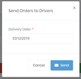 Send orders to drivers dialog